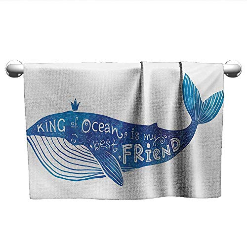 alisoso Whale,Camping Towels Kind of Ocean is My Best Friend Quote with Whale Fish Paintbrush Artsy Picture Dry Fast Towel Violet Blue White W 28