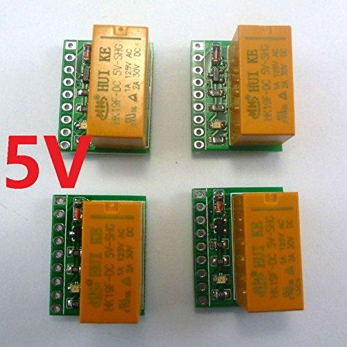 RUNNINGPART 4pcs mini & Ultra-light DPDT Relay Board for Motor reversing Polarity reversal HK19F DC5V PCB Module