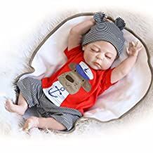 Pursue Baby Washable Full Body Silicone Vinyl Lifelike Baby Boy Doll Anatomically Correct Doggy, 22 inch Fully Poseable Realistic Newborn Baby Infant Doll with Pacifier