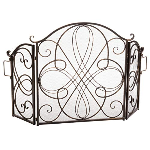 (Christopher Knight Home Rosalinda Black Gold Finish Floral Iron Fireplace Screen)
