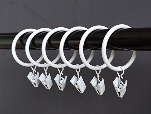(1.25')1.25 Inches Smooth Metal Curtain Rings with Clips (white) (20)