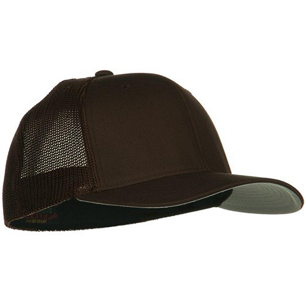 Brown 6 Panel Trucker Flexfit Cap
