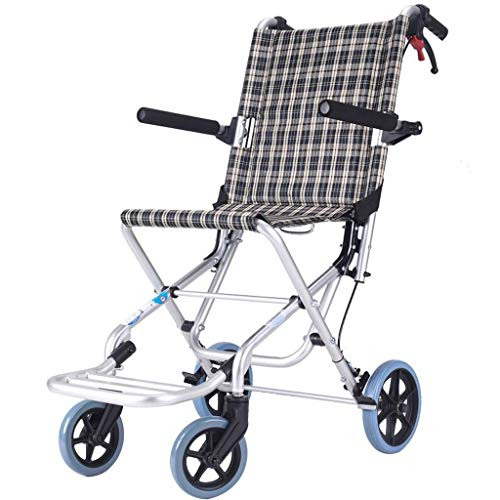 (YangMi Wheelchair- Folding Lightweight Ultra Light Old Easy Travel Wheelchair Aluminum Alloy Small Children's Trolley (Color : Classic Flower Grid, Size :)