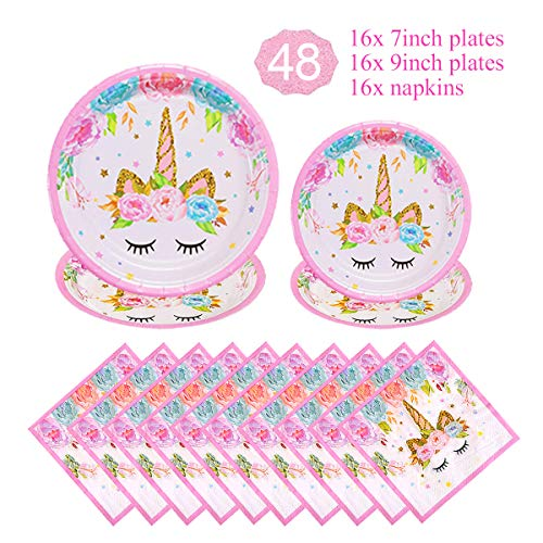 Unicorn Themed Party Supplies Decorations Set for Girls Children Birthday Party,Unicorn Plates and Napkins Set,Paper Disposable Tableware Set,Party Table Decoration for Baby Shower,Serves 16 Guests -