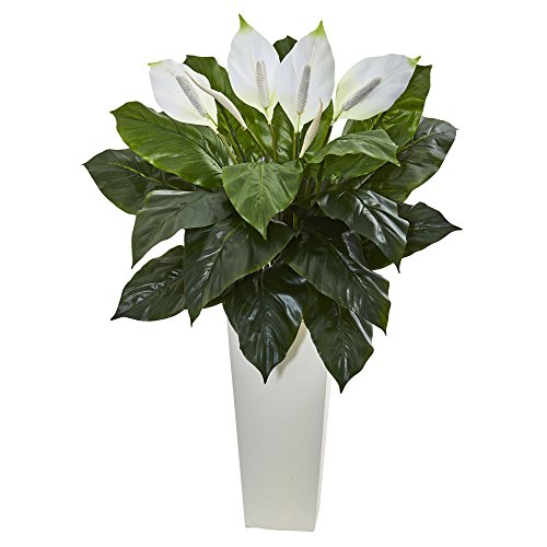 Nearly Natural Artificial 3' Spathiphyllum Plant in White Tower Planter, -