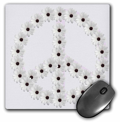 Price comparison product image 3dRose LLC 8 x 8 x 0.25 Inches Mouse Pad, White Flower Peace Sign (mp_40180_1)