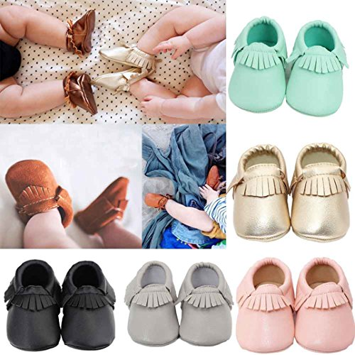 Ecosin Baby Kids Tassel Soft Sole Anti-slip Leather Shoes Infant Toddler Shoes