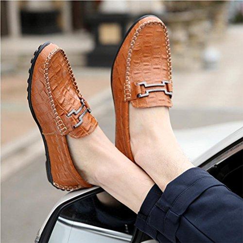Guisantes Casuales Zapatos de Zapatos Zapatos NSHX Hombre de yellow Cuero nfZA6Wa