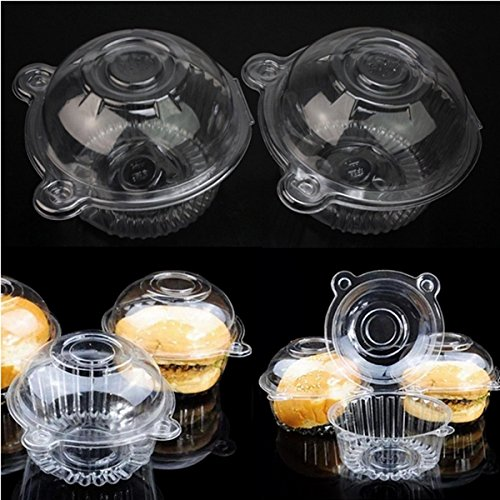 [Shop24Hrs 100Pcs Round Clear Cupcake Muffin Cookie Food Box Holder Container] (Car Costume Cardboard Box)