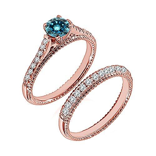 0.99 Carat Blue I2-I3 Diamond Engagement Wedding Anniversary Halo Bridal Ring Set 14K Rose Gold ()