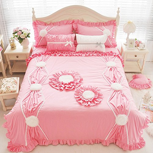 MeMoreCool Exquisite Stereo Tailoring 100% Cotton Princess Bedding Set,Elegant Girly Duvet Cover Set,Lace Bed-Skirt Finest Quality Cotton,3-Piece