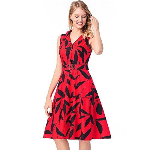 Una Con Y Gran De Una Impresiones RONG Vestido XIU Solapa Mujer De gules Cantidad Para Un Una wTYnqI