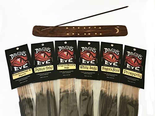 Premium Dragon's Eye Incense Sticks, 6 Best Selling Scents, Dragon's Blood, Dragon's Blood & Sage, Frankincense & Myrrh, White Sage, Prosperity, Premium Amber. Attractive Wood with Inlay Ash Catcher.