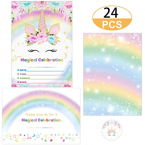 Supreona 24 PCS Glitter Unicorn Invitations With Envelopes And Stickers Rainbow Invitation Cards For Birthday, Baby Shower, Party Supplies Set