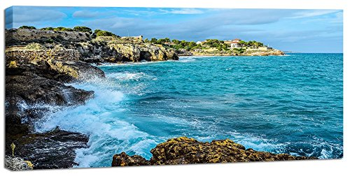 Yiijeah Gulf Seascape Canvas Wall Art for Living Room Seascape Island Blue Sky Print Painting Picture Decoration Modern Framed Artwork Decor for Home Bedroom Office 20x40in