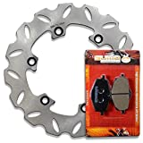 Sumo - Yamaha Stainless Steel Rear Brake Disc Rotor + Pads for YZ125 U (2T) (88) / YZ250 U (2T) (88) / DT125 R (88-03) / DT125 RE (04) / DT200 R (93) / TDR125 (94-03) Motorcycle