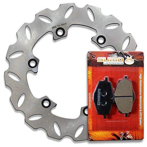 Sumo - Yamaha Stainless Steel Rear Brake Disc Rotor + Pads for YZ125 U (2T) (88) / YZ250 U (2T) (88) / DT125 R (88-03) / DT125 RE (04) / DT200 R (93) / TDR125 (94-03) Motorcycle by Sumo Brakes