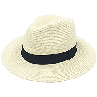 Lanzom Women Wide Brim Straw Panama Roll up Hat Fedora Beach Sun Hat UPF50+ (A-Beige)