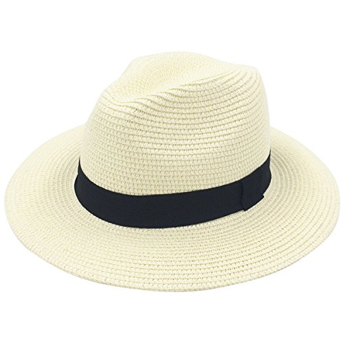 Lanzom Women Wide Brim Straw Panama Roll up Hat Fedora Beach Sun Hat UPF50+ (A-Beige) by Lanzom
