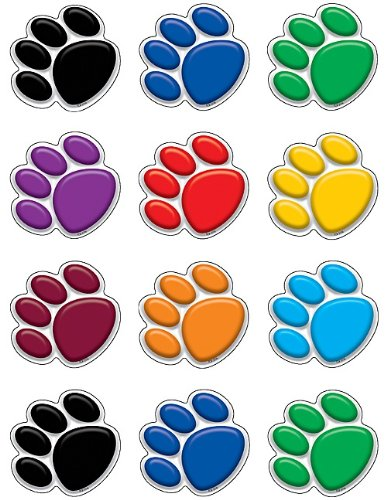 (Teacher Created Resources Mini Accents, Colorful Paw Prints (5116))
