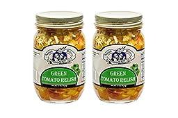 Amish Wedding Foods Green Tomato Relish (2) 15 OZ Glass Jars All Natural