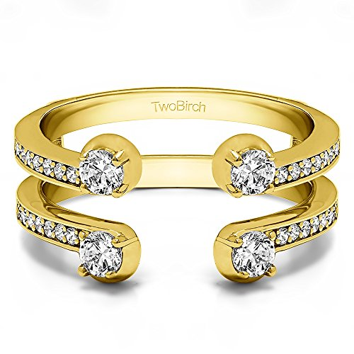 Two Stone Wedding Ring Guard with 0.36 carats of Diamonds (G-H,I2-I3) in 14k Yellow Gold ()