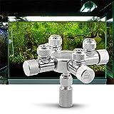 Festnight Aquarium Tank CO2 Splitter Regulator Distributor Needle Fine Adjusting Valve for CO2 Regulator with 4 Way Outlets