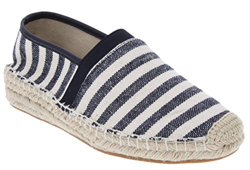 Shoe Flat Stripe Blue Navy (Sugar Women's Eternity Espadrille Flat, Canvas Casual Slip On Shoe with Rope Stitching Navy Stripe 10)