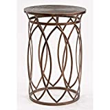 Bronze Drum Coffee Table Round Iron End Table - End Table Drum-Shaped Silhouette - Bronze