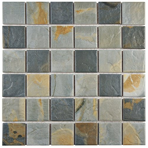 Slate Porcelain Tiles (SomerTile WTCARDSL Tegola Glazed Porcelain Mosaic Floor and Wall Tile, 11.625