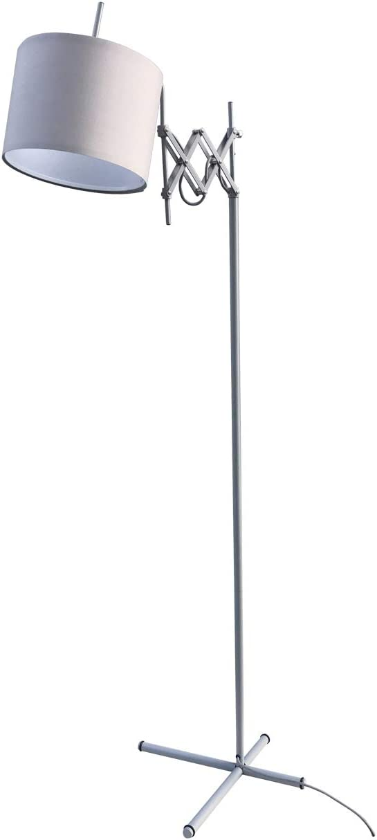 Modernluci Floor Lamp, Modern Lighting with Scissor Arm Design, Standing Lights Living Room Light Bedroom Lamps, Matte Grey, Contemporary Style Fabric Drum Shade