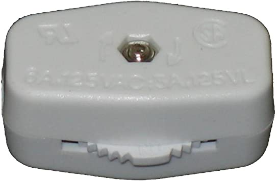 Feed-Through On//Off Electric Cord Switch WHITE Westinghouse 70500