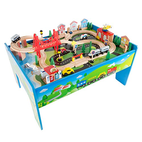 Wooden Train Set Table for Kids, Deluxe Had Painted Wooden Set with Tracks, Trains, Cars, Boats, and Accessories for Boys and Girls by Hey! -