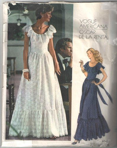 Vintage Vogue 1043 Americana Oscar De La Renta Designer Sewing Pattern Sleeveless Evening Gown, Fitted Bodice, Shaped Inset Midriff, Scoop Elasticized Neckline with Self Ruffle. Back Tie Sash, Flared Gathered Skirt with Flounce, Has Back Zip.