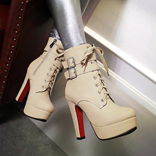 YE Damen Blockabsatz Ankle Boots High Heels Gefütterte Stiefeletten Plateau mit Schnürsenkel Reißverschluss und Schnalle Elegant Schuhe Beige