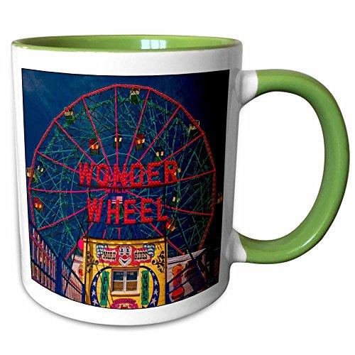 3dRose 55991_7 Wonder Wheel Coney Island, Green Mug 11 oz (Wonder Wheel Coney Island)