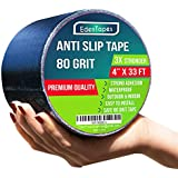 EdenTapes Heavy Duty Anti Slip Traction Tape , 4 Inch x 33 Foot Grip Tape Grit Non Slip , Indoor, Outdoor Best Non Skid Stair Treads, High Traction Friction Abrasive Adhesive for Stairs Step - Black