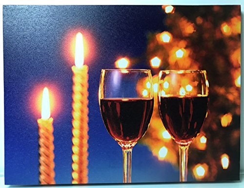 BANBERRY DESIGNS Wine Decor - 2 Glasses of Red Wine and Flickering Candles - LED Wine Print - Canvas Wall Art - Wine Home Decor ()