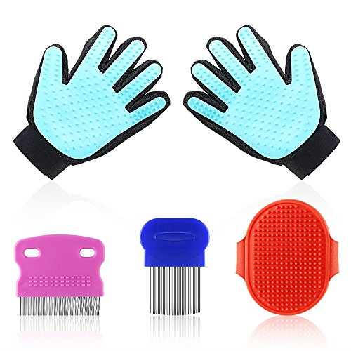 Pet Grooming Glove Set,Pet Massage Tool with 2-in-1 Gentle Deshedding Brush and Efficient Pet Hair Remover Mitt Perfect for Dog,Cat,Horse,Rabbit,Long or Short Fur Pet[Upgrade Version] (Five Finger)