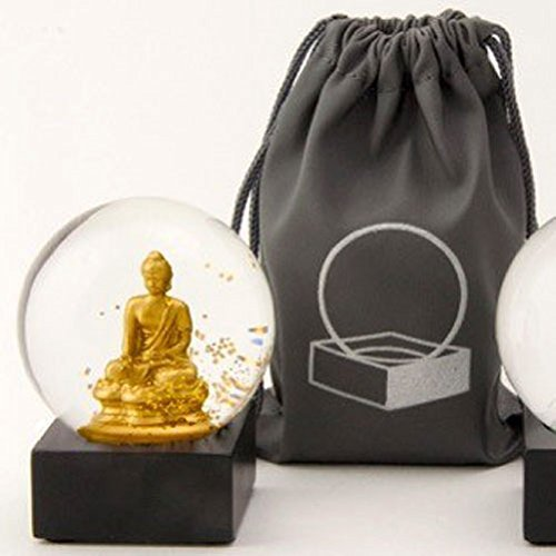 CoolSnowGlobes Buddha to Go Miniature Cool Snow Globe Gold Buddha
