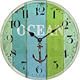Cheap Colored Wooden Wall Clock Vintage Rustic No Ticking Decorative Round Wall Clock for Kitchen Office Bedroom by Kaimao – Style A