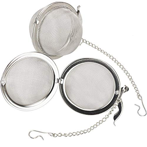 Premium Stainless Steel Tea Ball Infuser 2 Pack By Avant Grub. 2 Strainer Filters Loose Leaf Teas to Make The Perfect Cup or Pot. No Bags Required. Hook and Chain - Avant Bulb