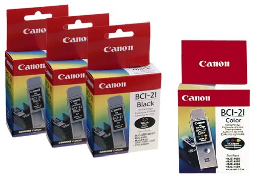 Canon BCI-21 Ink Cartridges (5 Pack, 3 Black and 2 ()