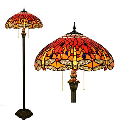 Vintage Tiffany Style Dragonfly Floor Standing Lamp Stained Glass 2 Light Resin Base Floor Lamp for Bedroom Living Room Reading, 45cm