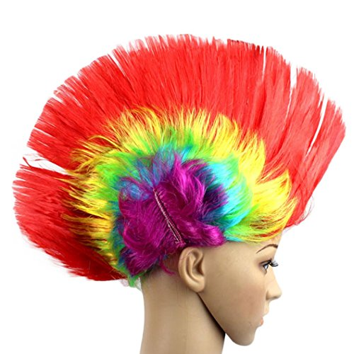 DEESEE(TM) Hallowmas Masquerade Punk Mohawk Mohican hairstyle Cockscomb Hair Wig Cosplay wig (red) (70s Hairstyles And Makeup)