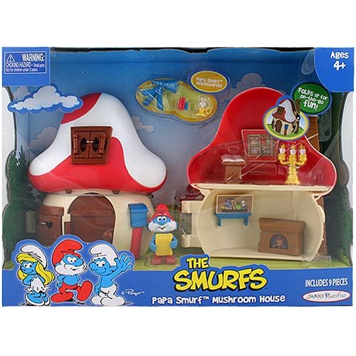 Smurf Mushroom (Smurfs 2 Inch Articulated Mini Figure Playset Papa Smurf with Mushroom House)