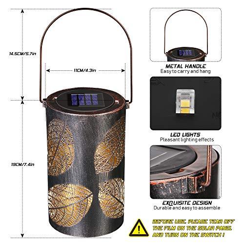 Solarlaterne für Außen, LED Solar Laterne für Aussen, Wasserdicht Garten Metall Solarlampen für Außen Hängend Laterne, Dekorative Laternen für Draußen, Gartenlicht Dekolampe für Terrasse Hof Rasen