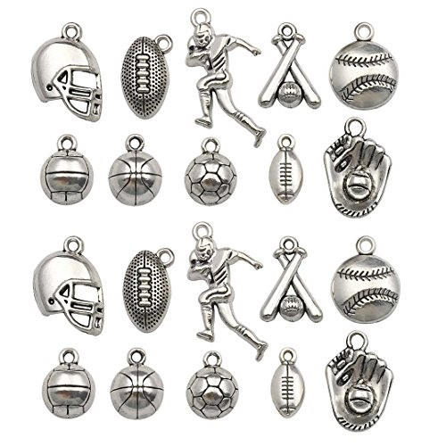 Youdiyla 40PCS Baseball Football Theme Charms Collection - Mixed Antique Silver Rugby Player Bat Glove Metal Alloy Pendants for Jewelry Making DIY Findings (HM126 Football+Baseball)