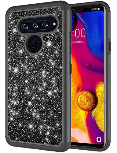 LG V40 ThinQ Case, LG V40 Case, Jeylly Glitter Bling Luxury Crystal Dual Layer Shockproof Hard PC Soft TPU Inner Protector Case Cover for LG V40 ThinQ/LG V40 - Black
