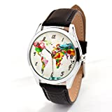 World Map Watch With Leather Band - Watercolor Map Watch - Gift for Traveler - Quartz Japan Movt …